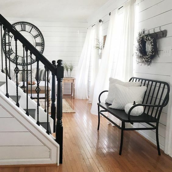 Best Farmhouse Decor Home Decor Modern Country Shiplap Shiplap Walls White Shiplap Bench Stairs 400 x 300