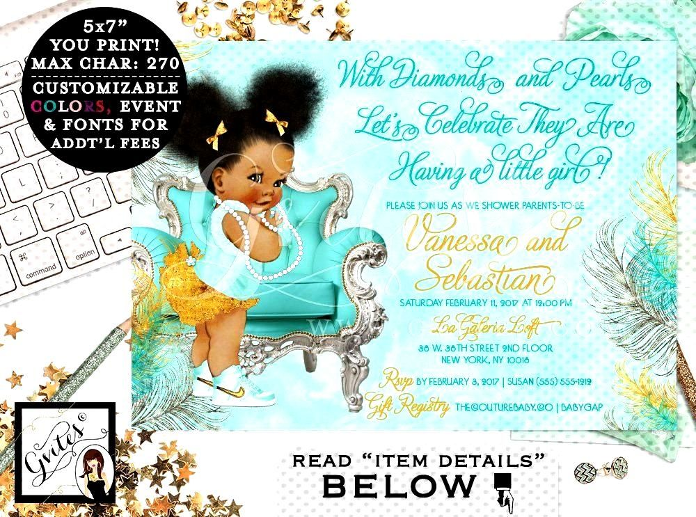Turquoise and Gold Baby Shower invitations, blue gold silver, ethnic baby, bows diamonds pearls. Af