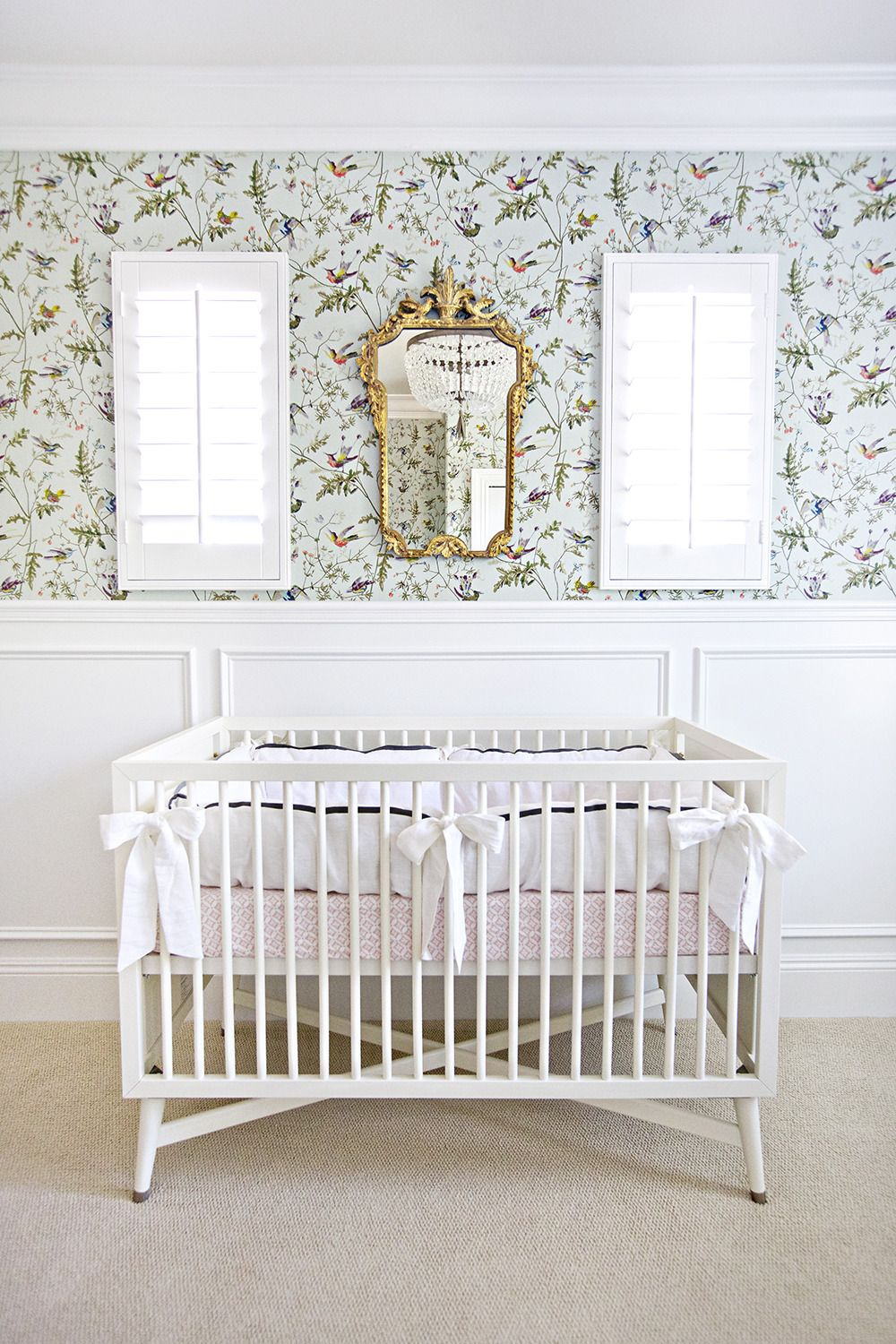 Bird Nursery Crib Wallpaper Pastels Mirror Walls Home Tour