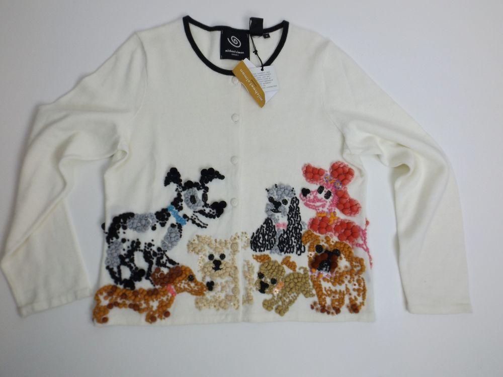 Michael Simon Sweater Cardigan M Dogs Cute! 2003 #MichaelSimon #Cardigan