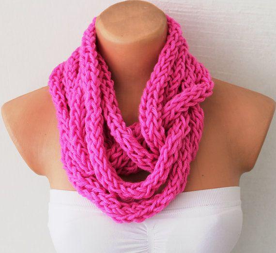 Fuchsia Infinity Scarf, Circular Crocheted Chunky Cowl Necklace Scarf