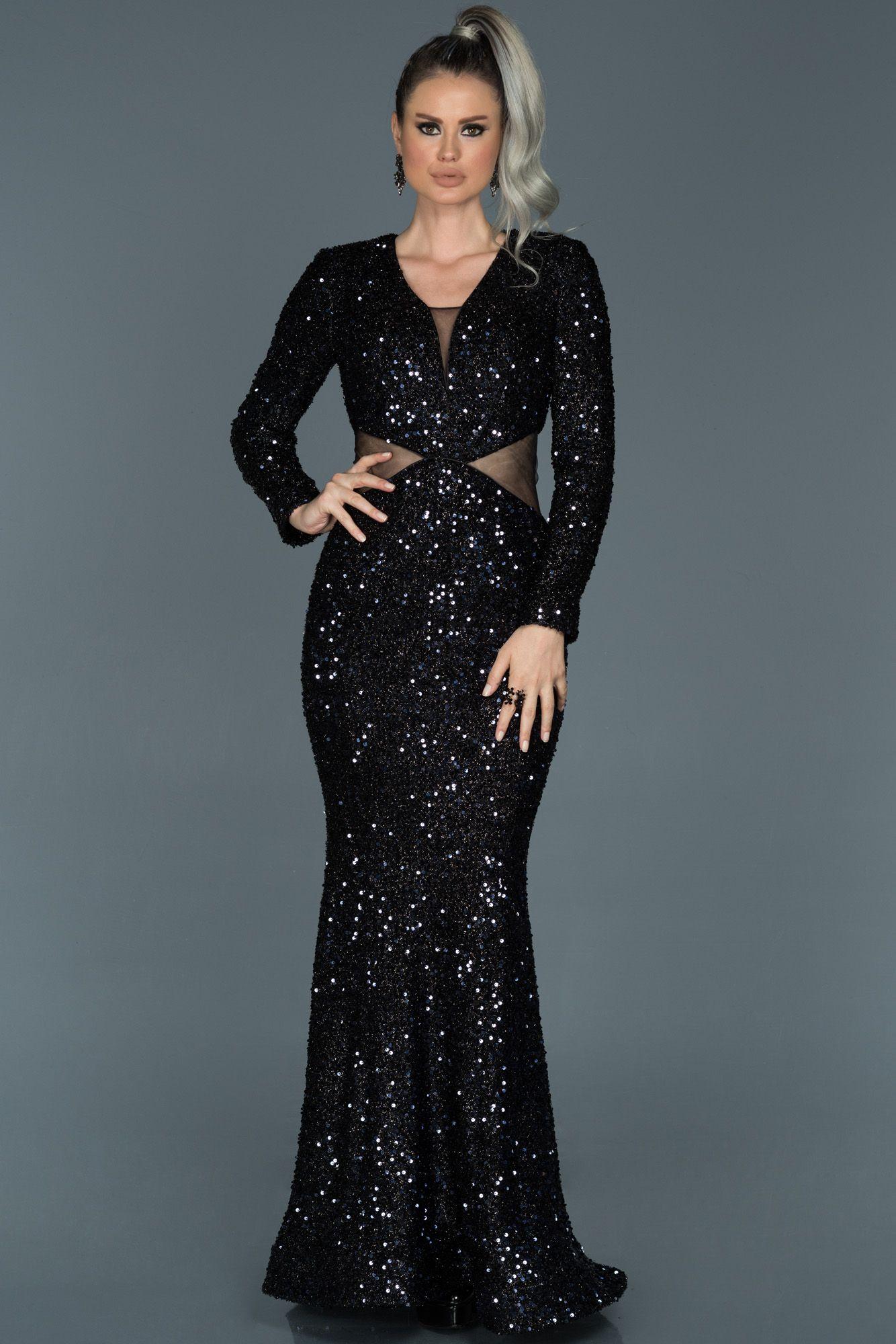 Lacivert Payetli Uzun Kol Abiye Elbise Abu498 Elbise Elbise Modelleri The Dress