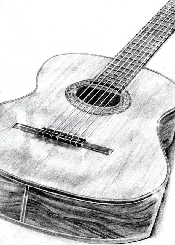 Pencil Drawing Guitar By Robyn Fear Pencil Drawings Art Drawings Sketches Pencil Guitar Sketch