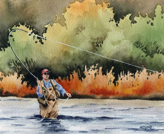 Flyfishing Painting fishing Artwork landscape Signed Stretched Canvas Print