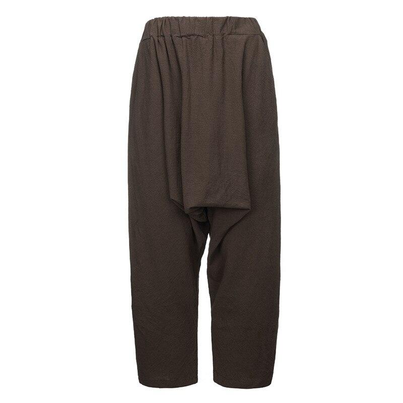 Women Drop Crotch Harem Pants Causal Plus Size Cotton Linen Art Trousers Vintage Elastic Waist Solid Drop Crotch Harem Pants Drop Crotch Pants