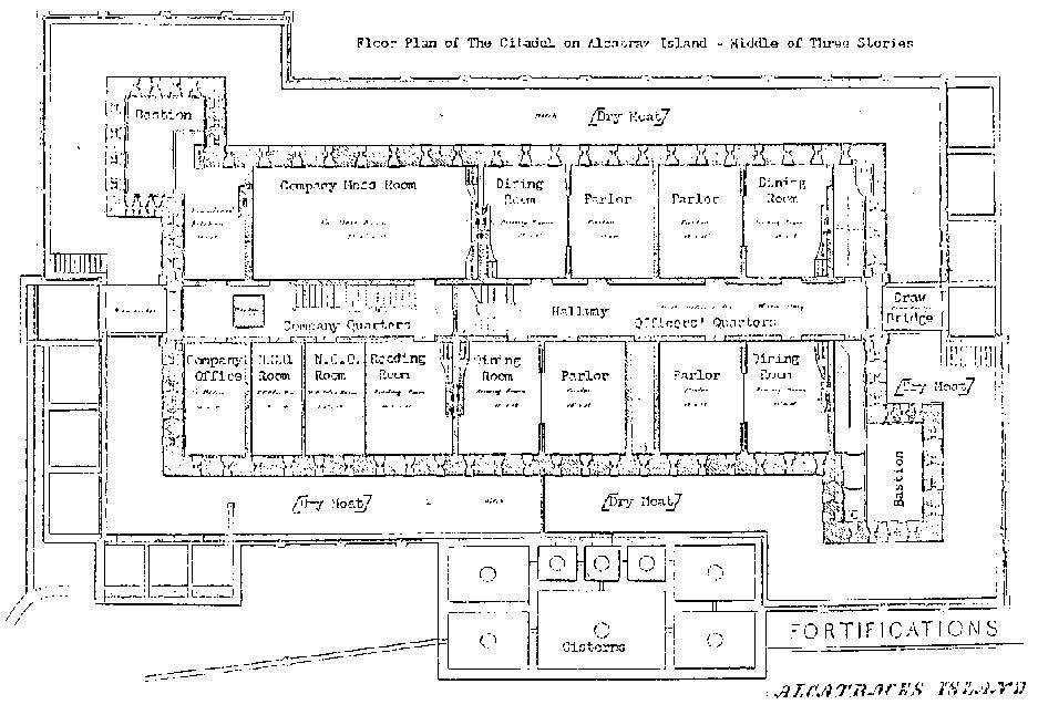 Floorplan Of The Citadel Of Alcatraz Island Middle Of 3 Stories