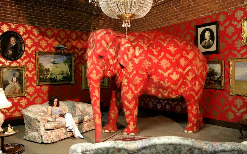 """""""A elephant in the room"""" by Banksy - Red painted elephant - Carefully selected by GORGONIA www.gorgonia.it"""