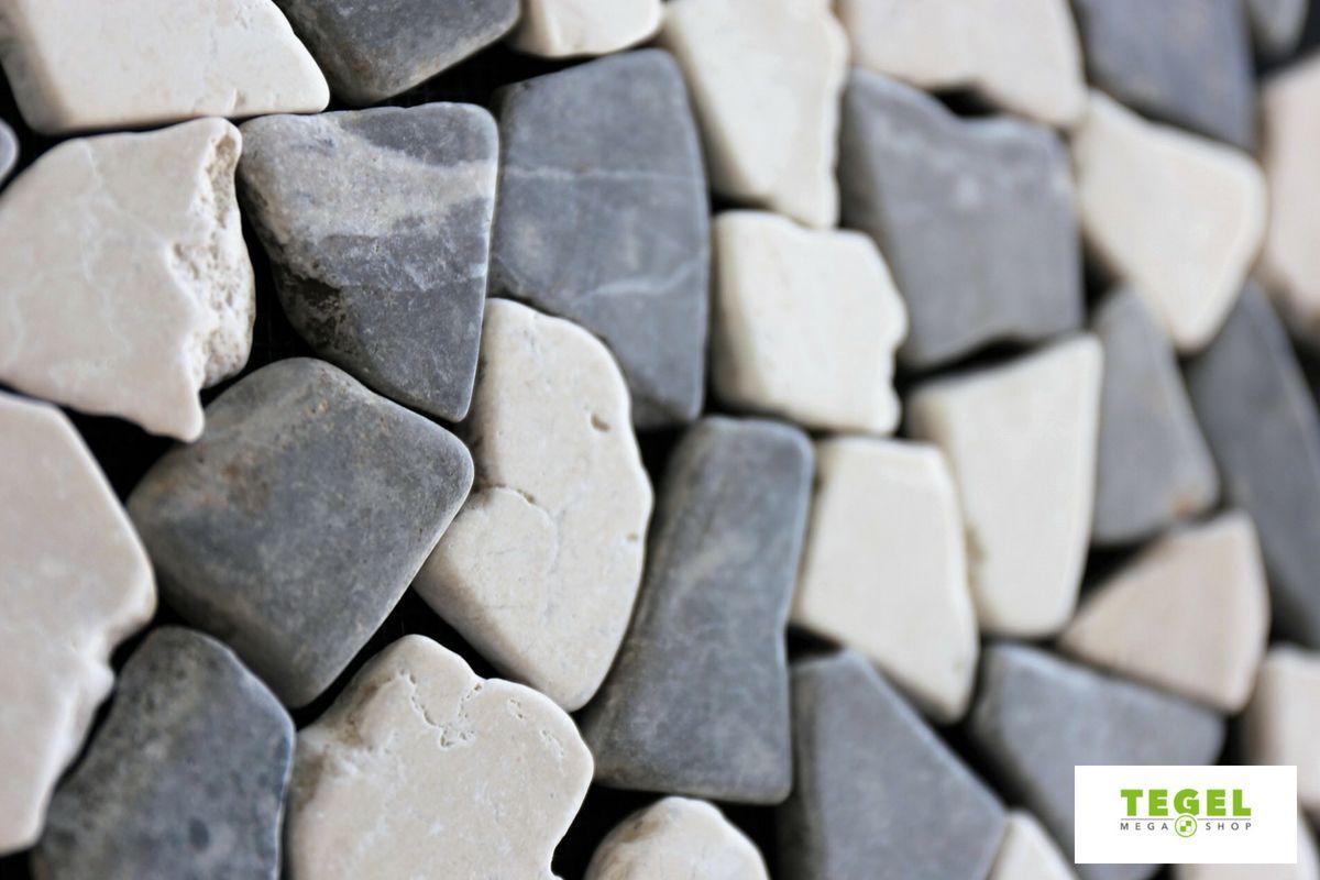Mozaiek Matjes Badkamer : Mozaiek riverstones white en grey combi marmer getrommeld mixed