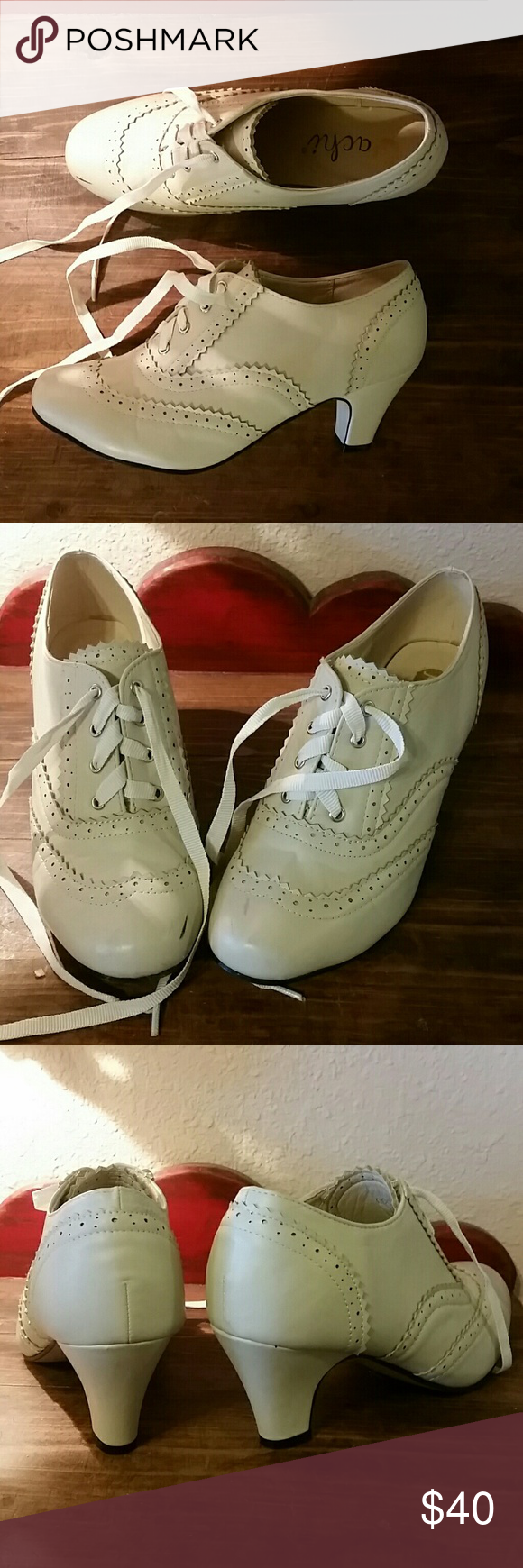 Mod Cloth, Cream colored lace up heels Hardly worn Machi Shoes Heels