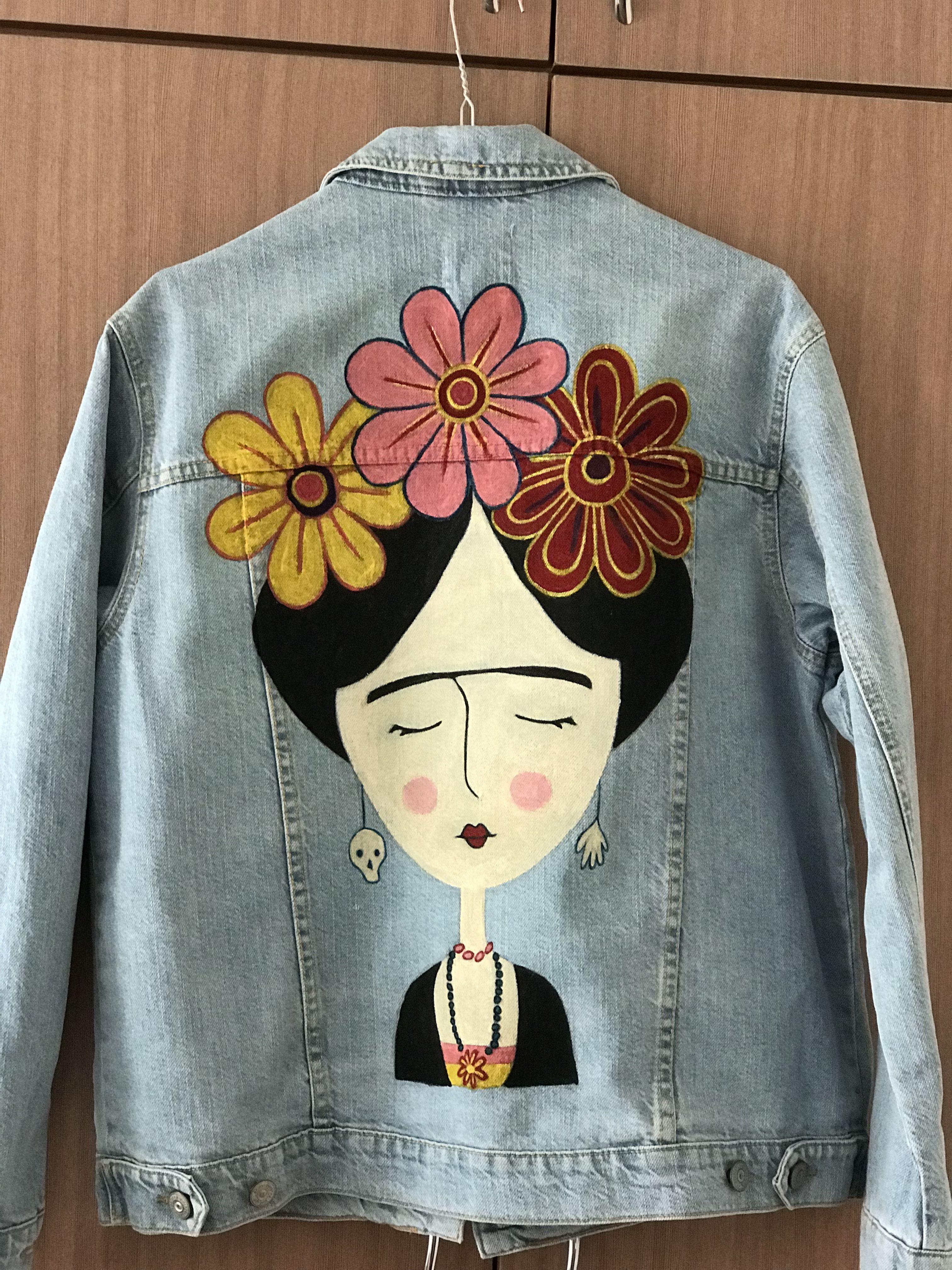 47f6cb252 Frida Kahlo painted jeans jaket Chaqueta De Mezclilla