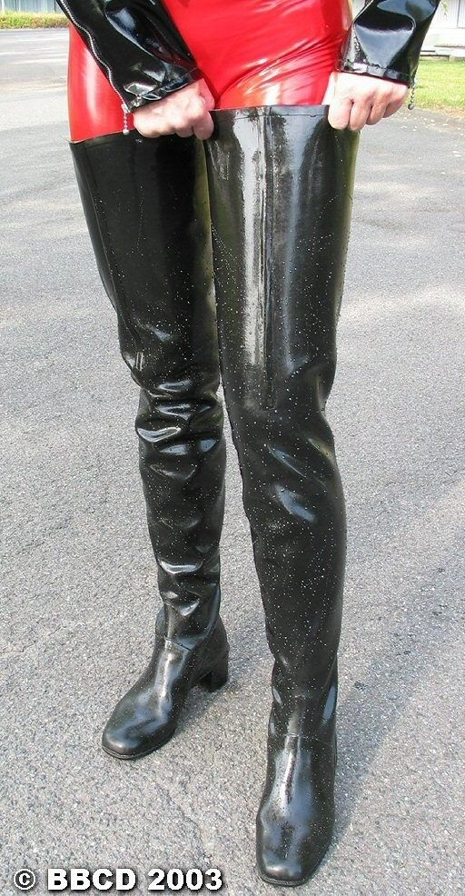 Latex Catsuit And Acquo Thigh Boots Raincoats Boots
