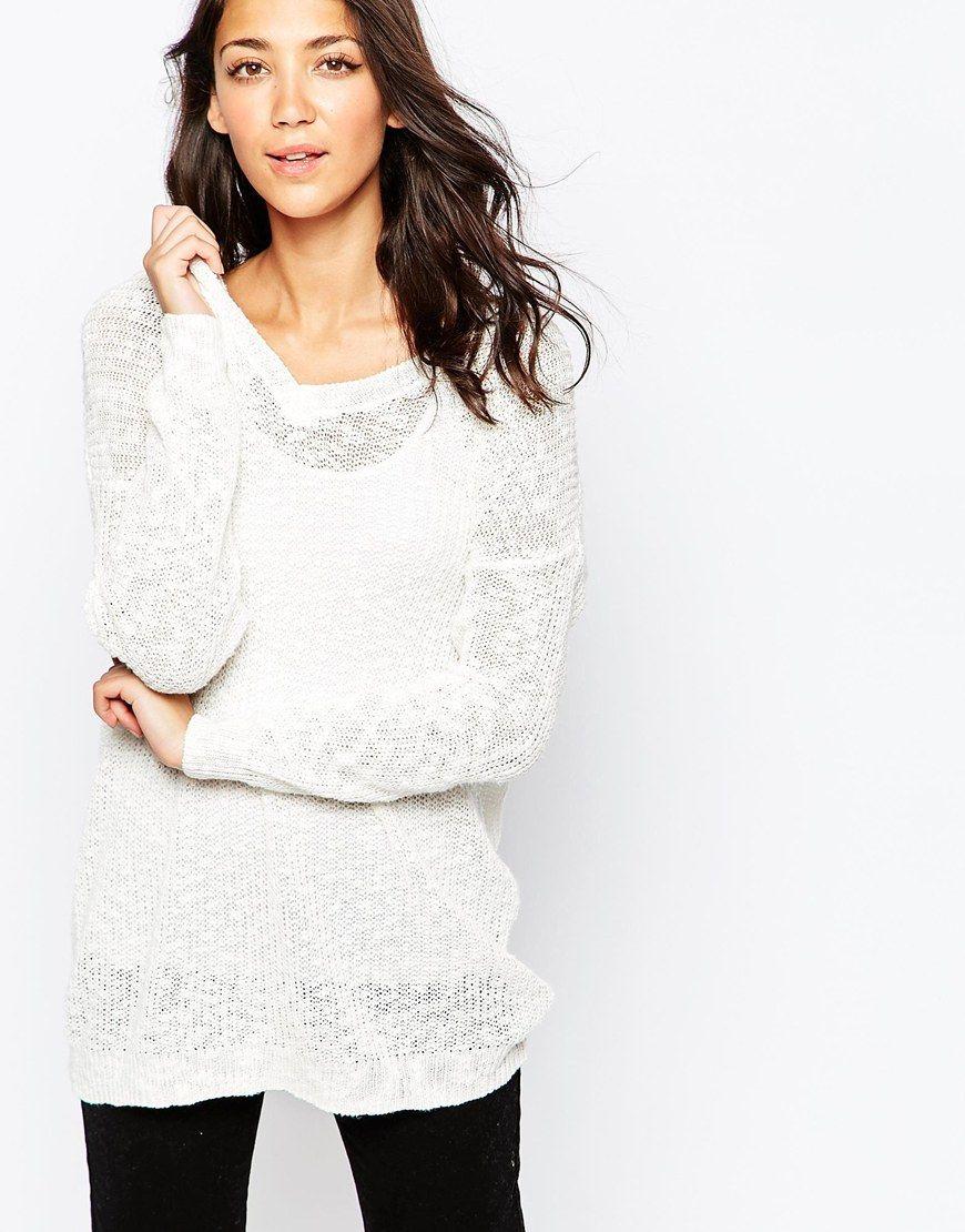 fd39a469a90f Jumper by Vero Moda Semi sheer knit Wide v-neckline Dropped shoulder ...