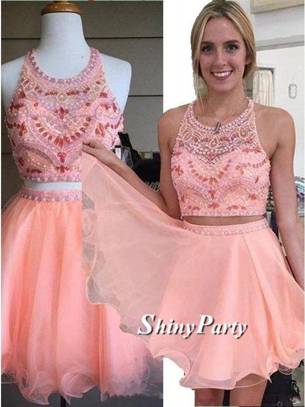Custom Made A Line 2 Pieces Round Neck Short Pink Prom Dresses, 2 Pieces Short Pink Homecoming Dresses, Graduation Dresses