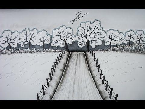 42 تعليم الرسم بالرصاص رسم منظر طبيعي للمبتدئين خطوة بخطوة
