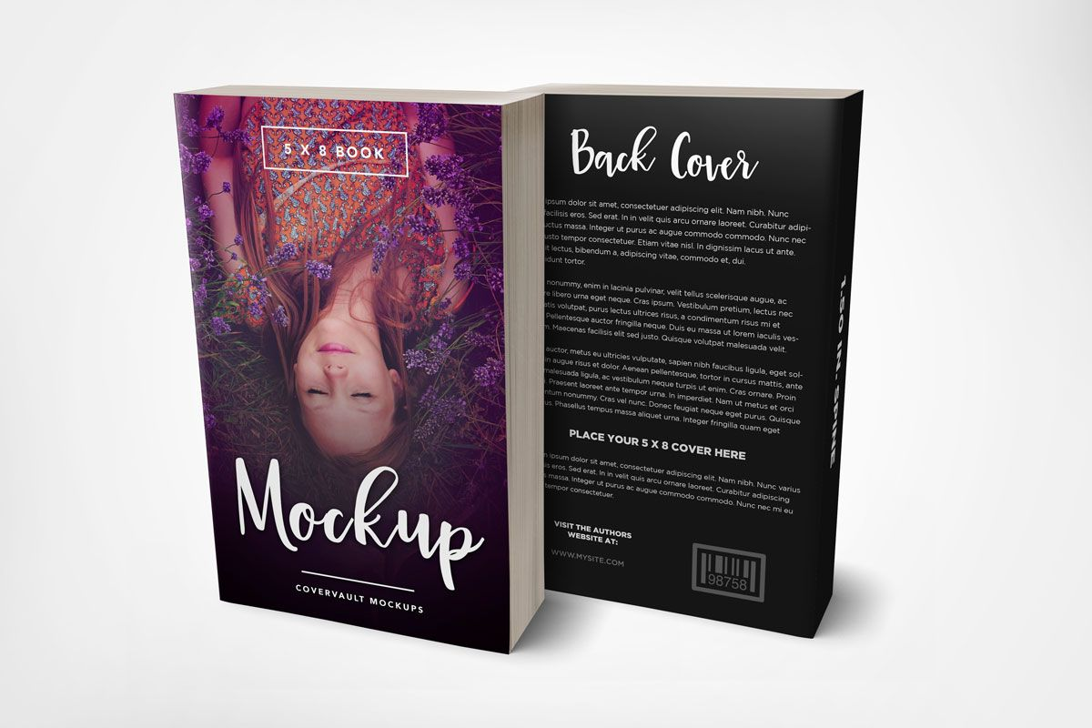 Book Cover Template Uk : Front back cover paperback book mockup template