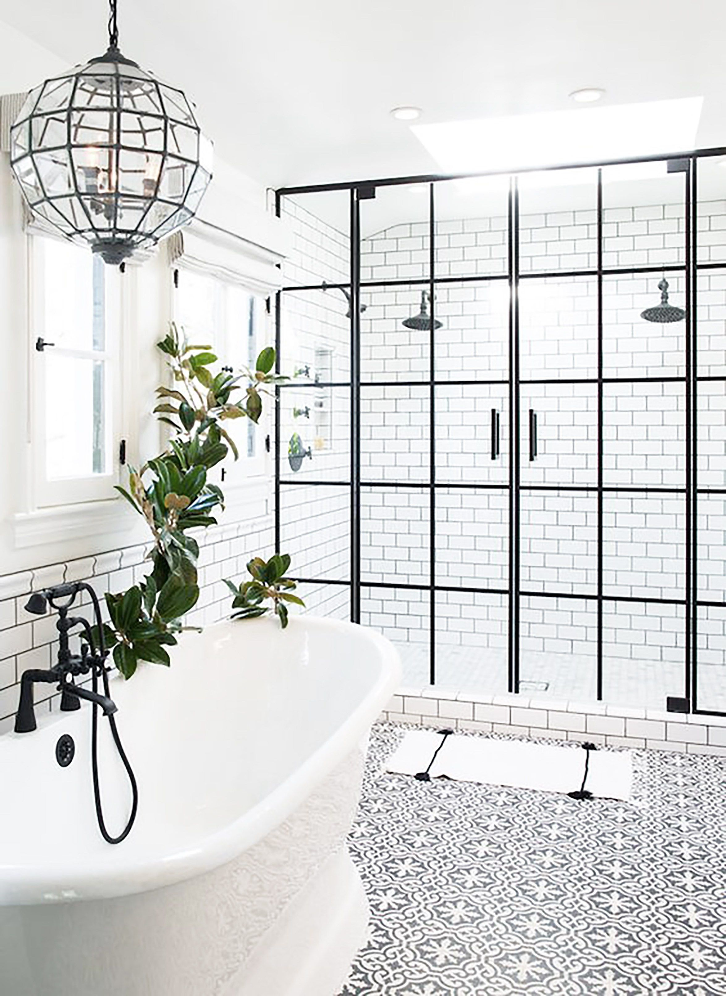 So dreamy...that floor tile! that pendant light! the double shower ...