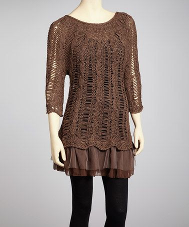 Take a look at this Coffee Knit Linen-Blend Skirted Tunic by Pretty Angel on #zulily today!
