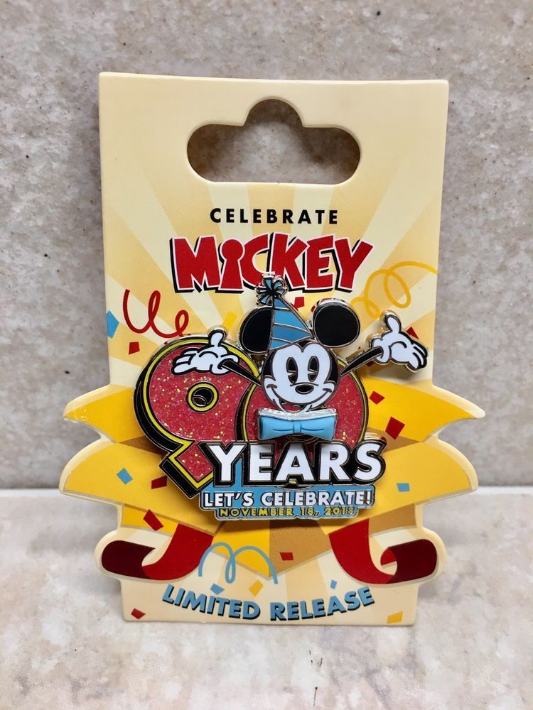 bf344af9c58 DISNEY PARKS MICKEY MOUSE 90TH ANNIVERSARY 1928-2018 LET S CELEBRATE PIN  LIMITED  Disneyana  Disney  WaltDisney