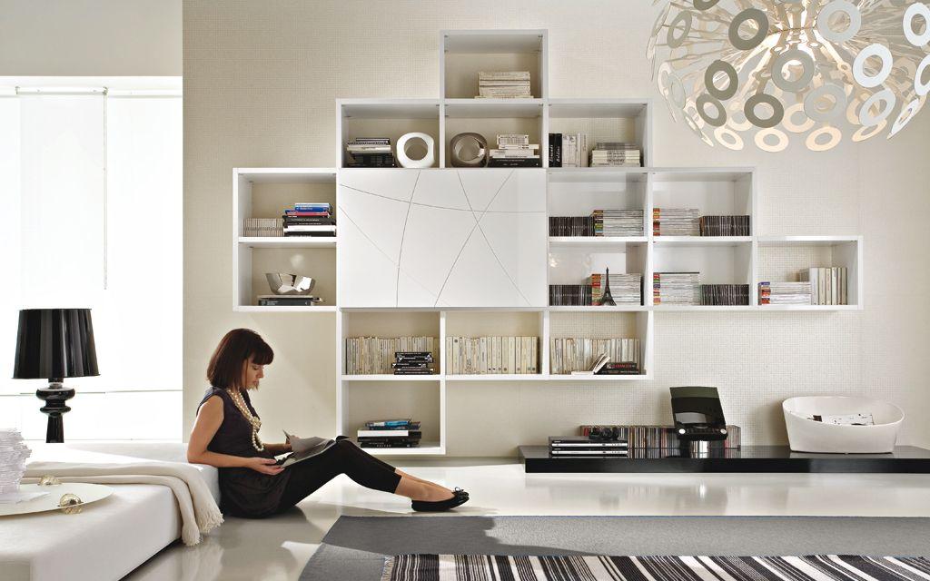 soggiorno con libreria sospesa - | living room | pinterest | tv ... - Soggiorno Design 2014