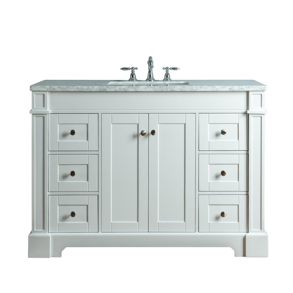 Stufurhome Seine 48 In W X 22 In D Bath Vanity In White With