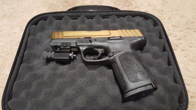 Custom SD9VE with gold-plated slide & barrel, and attached
