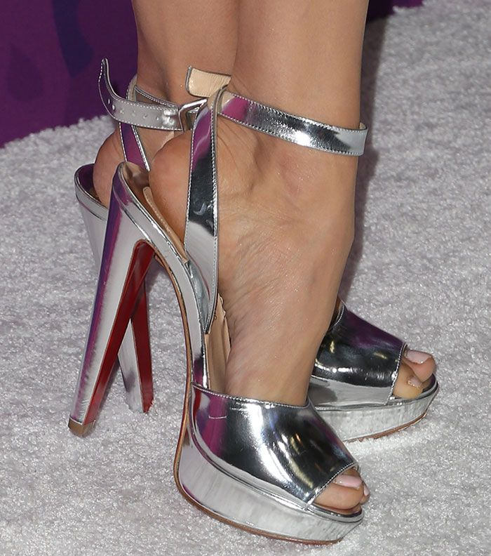 "Nina Dobrev in Christian Louboutin ""Louloudance"" sandals"
