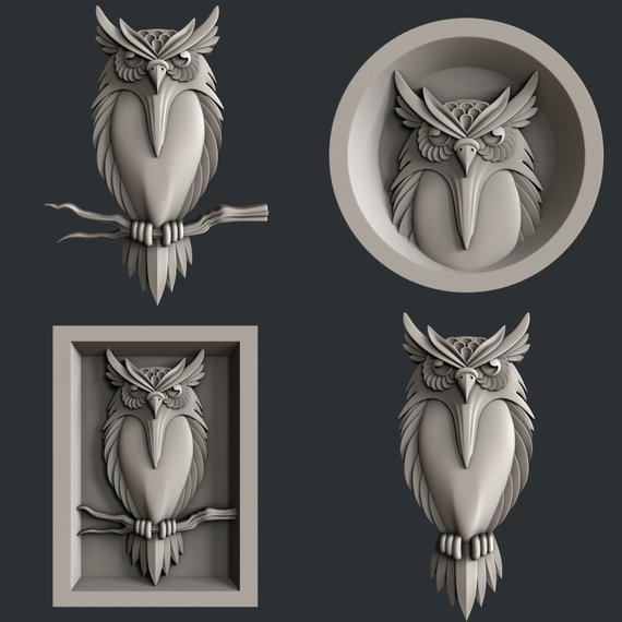3d STL models for CNC router Owl   Products in 2019   Cnc