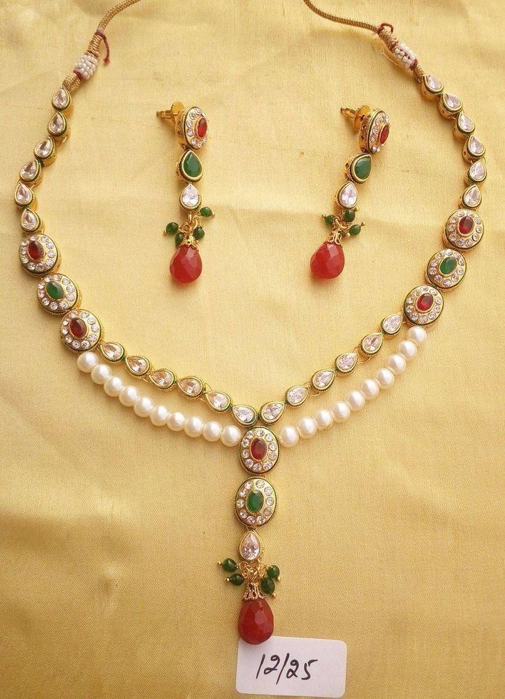 Kundan Necklace Set Gold Color Pendant Cz Pearl Indian Fashion