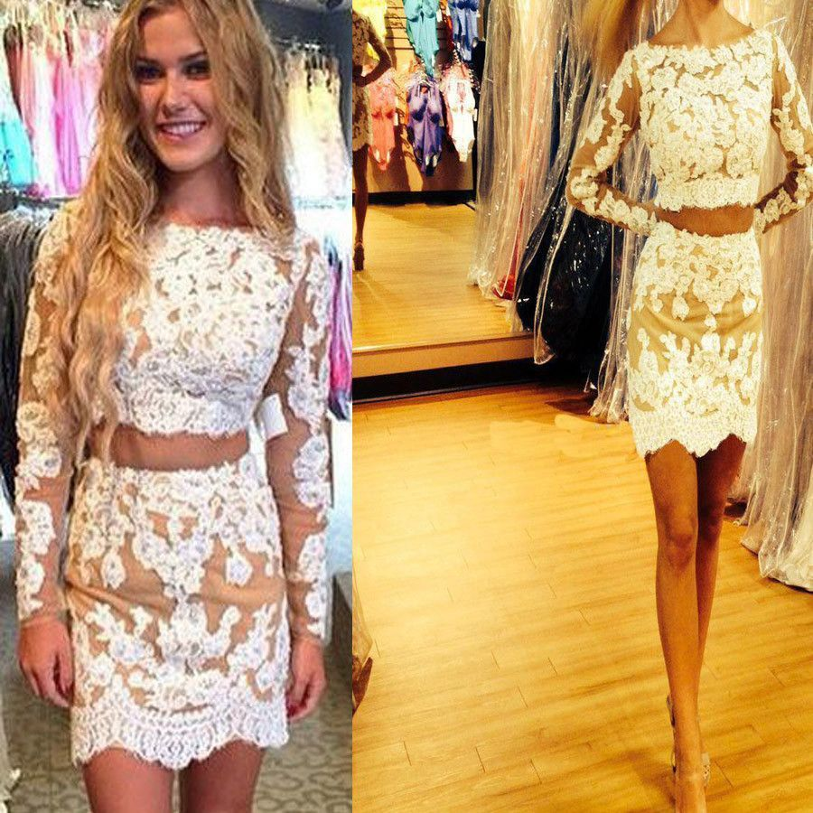 Long sleeve lace two pieces tight cheap unique homecoming prom