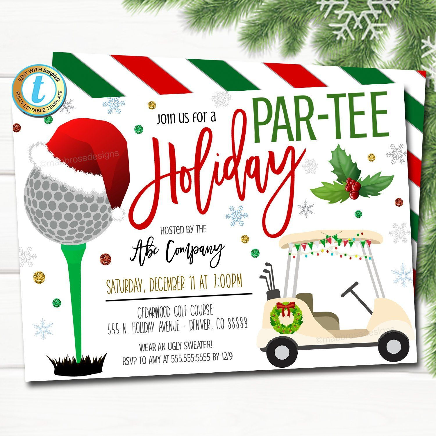 Christmas Golf Party Invitation, Adult Holiday Invite
