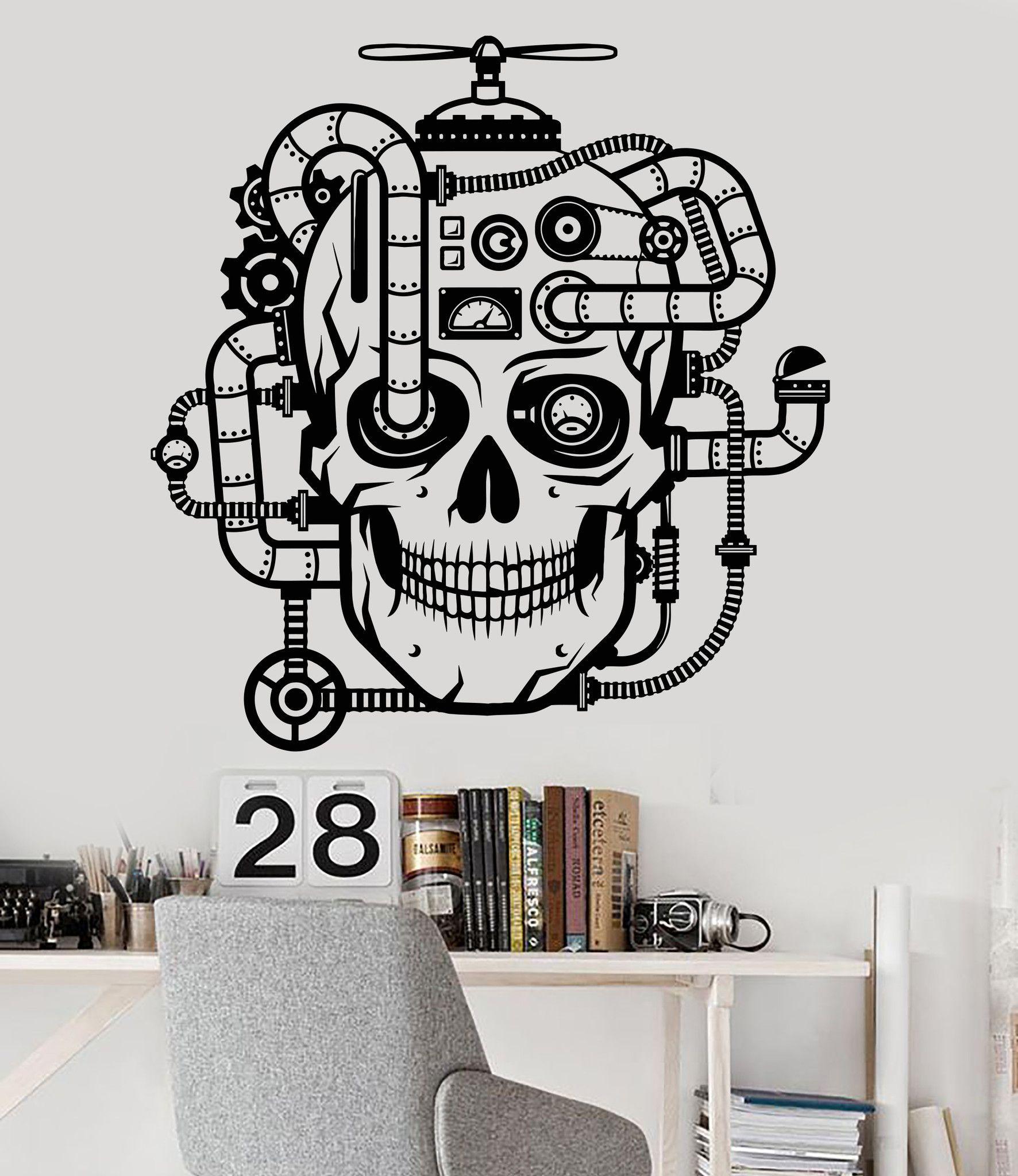 Vinyl Wall Decal Mechanical Skull Steampunk Head Robot ...
