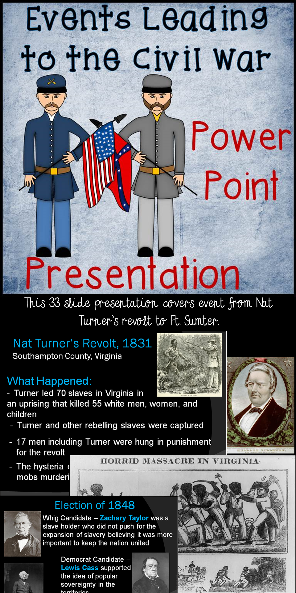 Events leading to the civil war power point presentation pinterest this 33 slide powerpoint presentation covers the main events leading to the american civil war the presentation begins with the 1831 nat turner revolt and toneelgroepblik Choice Image
