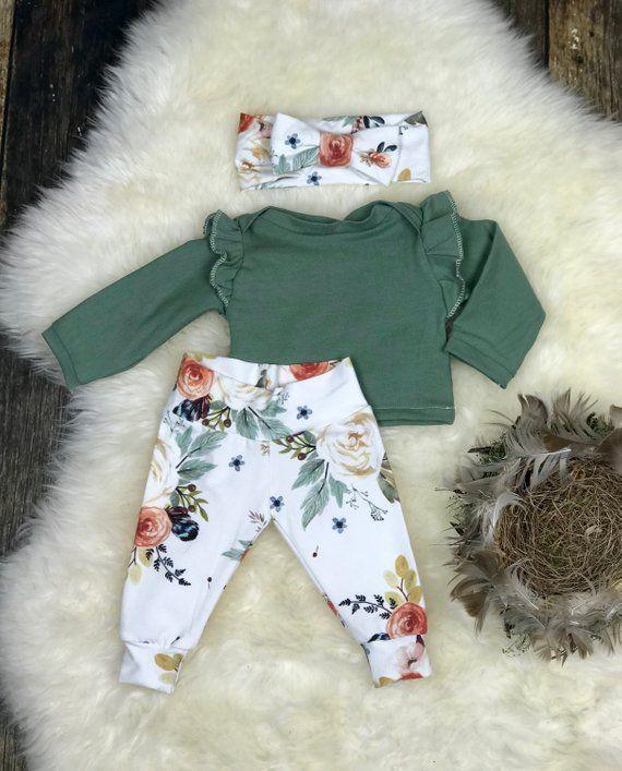 Photo of Neugeborene Mädchen kommen nach Hause Outfit in Erdtönen, Neugeborene Mädchen Fotografie Outfit; Aquarell Blumen, Baby-Mädchen, Premie Mädchen, Baby-Dusche