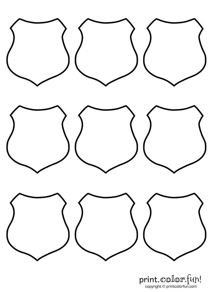 coloring pages blank kid kindergarten | 9 blank shields | Print. Color. Fun! Free printables ...