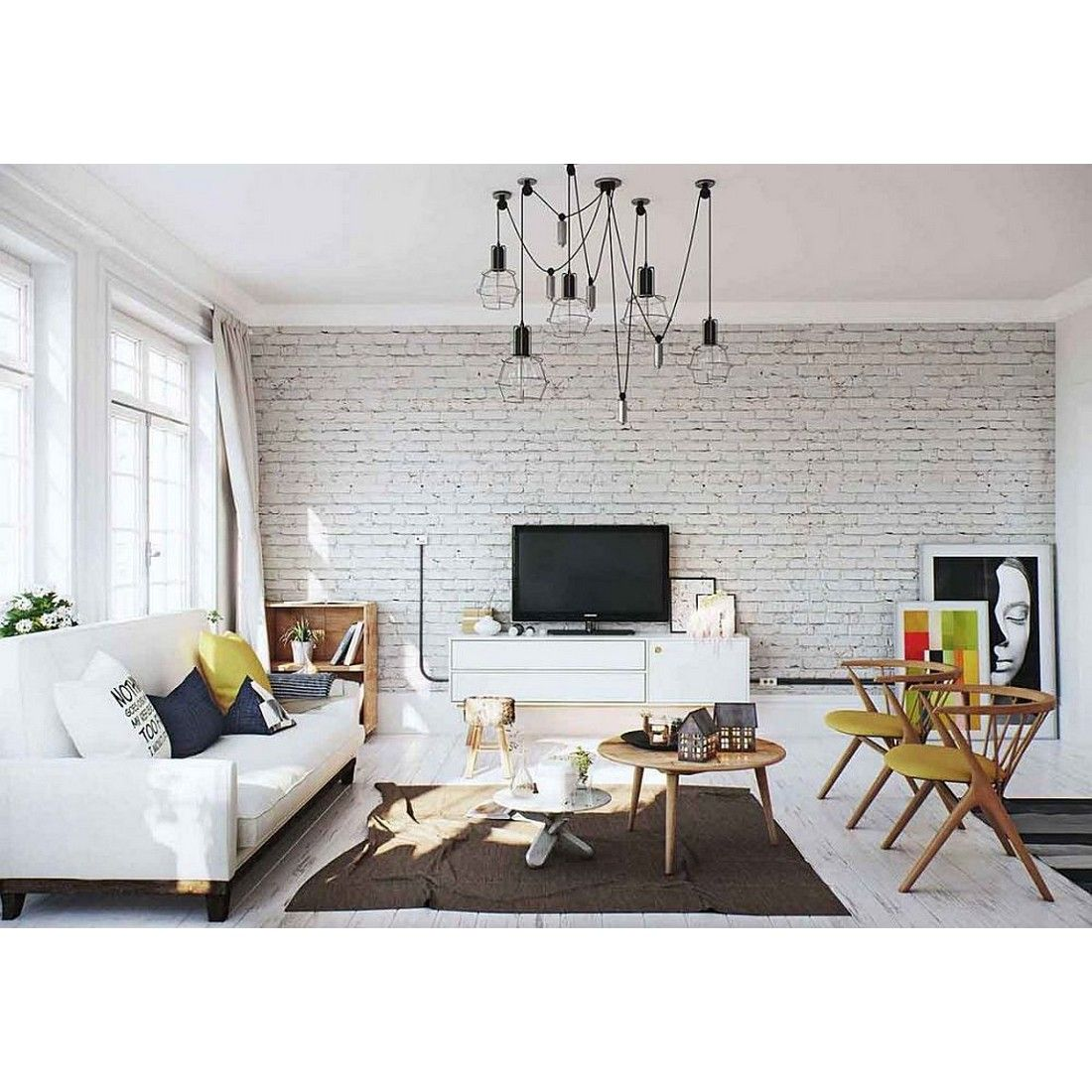 White Washed Brick Wall For Scandinavian Living Room Yay Or Nay Rumahkulivingroom