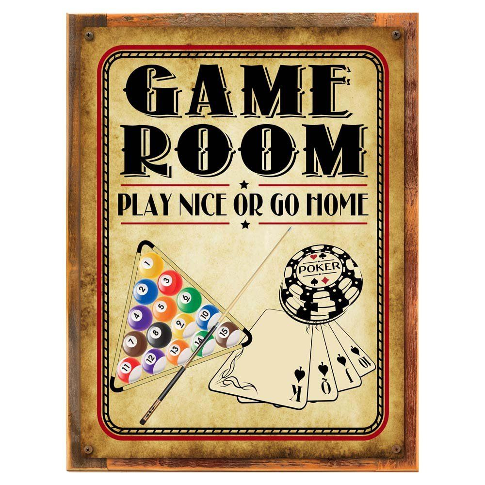 Wood-Framed Game Room Play Nice or Go Home Metal Sign, Poker ...