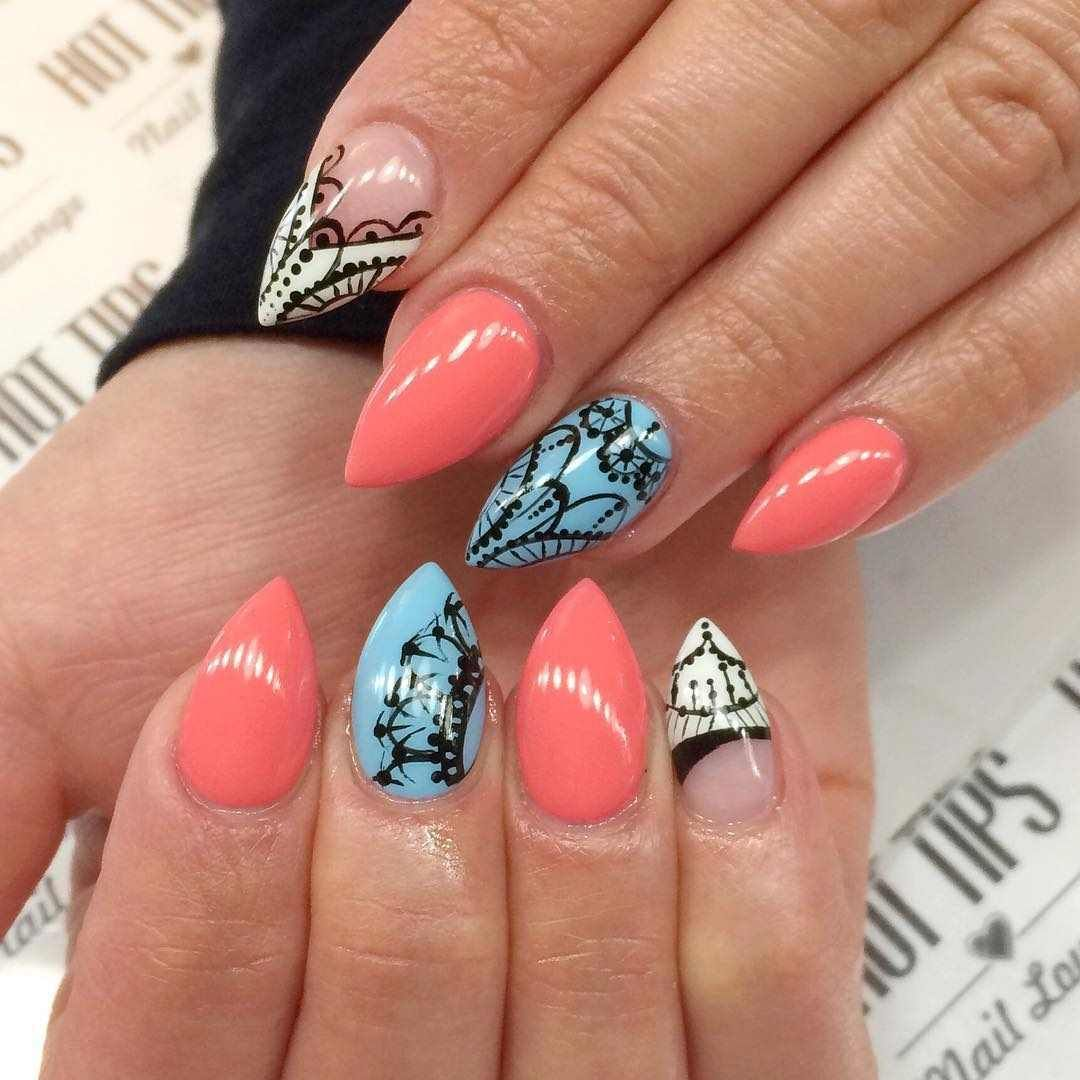 Nice Design For Pointed Nails Embellishment - Nail Art Ideas ...