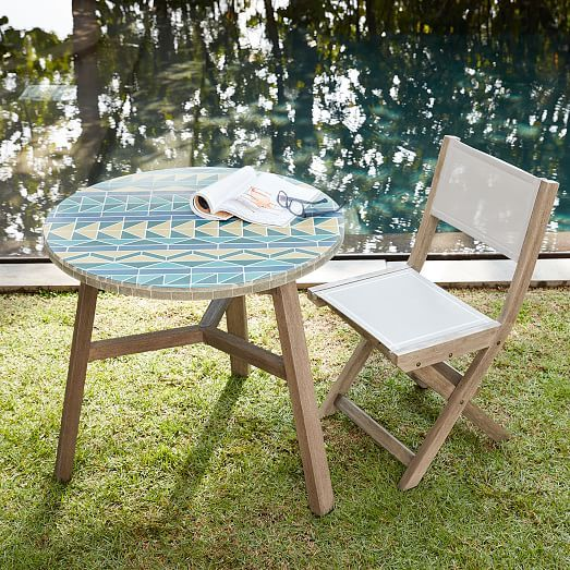 Mosaic Tiled Outdoor Bistro Table Multi Triangle Bistro Table Outdoor Patio Furnishings Outdoor Patio Furniture Sets