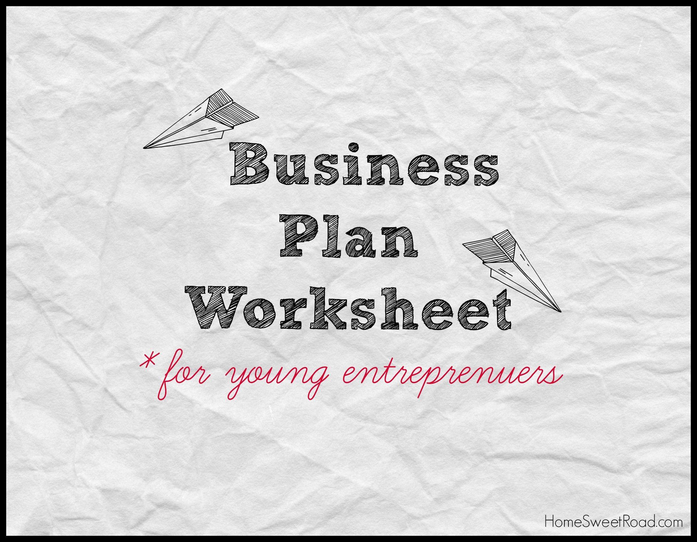 Business Plan Worksheet Kids