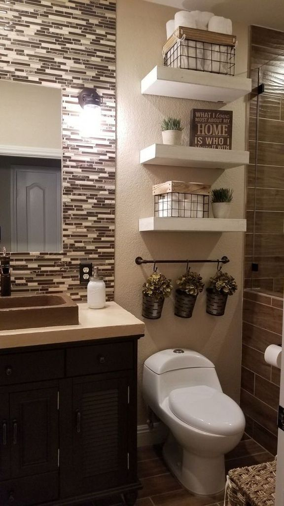 40 Tips to Upgrade Small Bathroom Decor with Wooden Storage - Marie