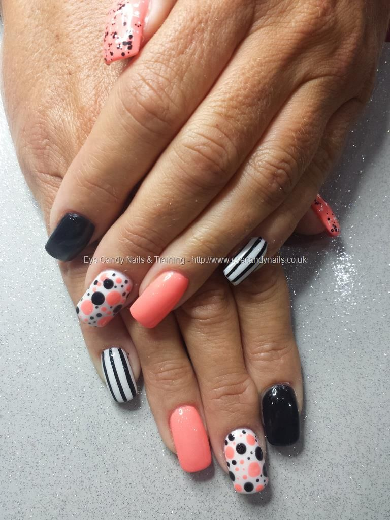 Peach white and black gel polish with freehand nail art | nails ...