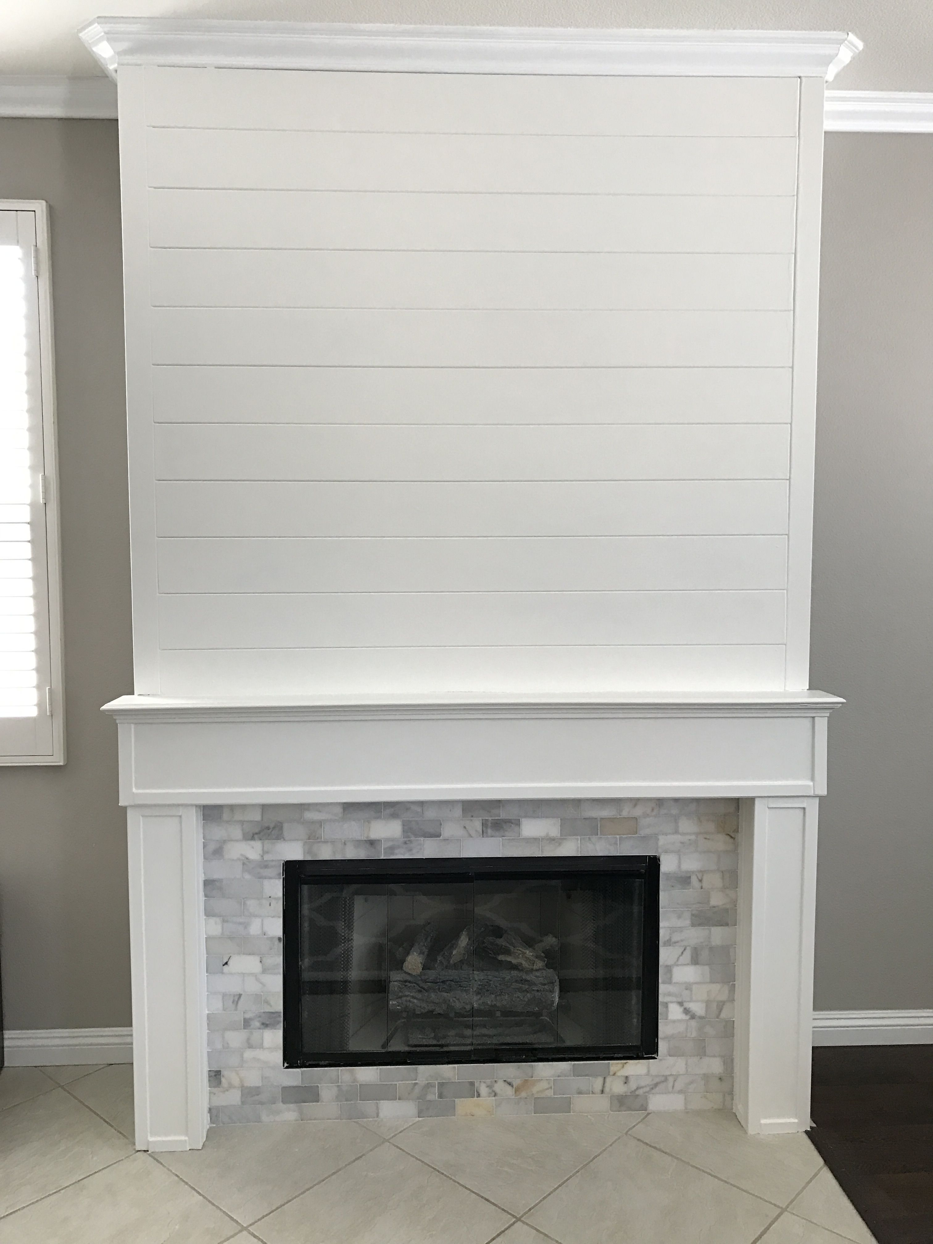Shiplap And Marble Tile Fireplace Corner Fireplace Fireplace Surrounds Fireplace Tile