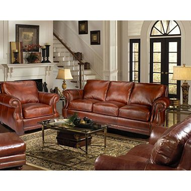 $4699 - bristol vintage leather craftsman 4 piece living room set