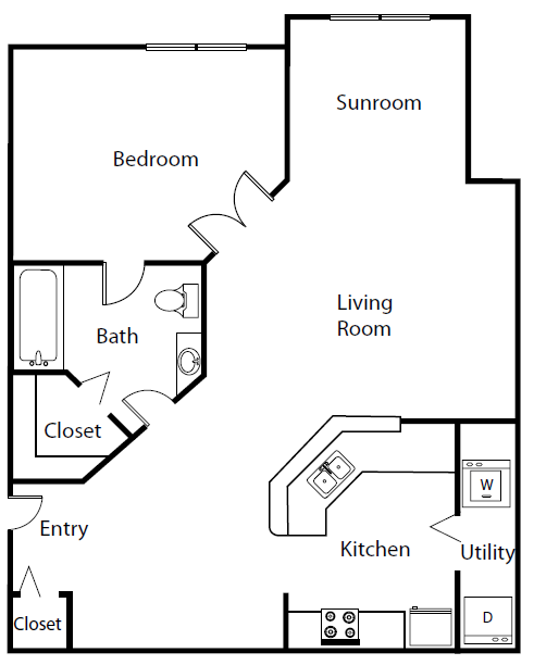 The Naples Is A 1 Bedroom Apartment Layout Option At The Summit At Metrowest This 750 00 Sqft Floor Plan Starts In 2020 Floor Plans Tiny House Plans Small House Plans