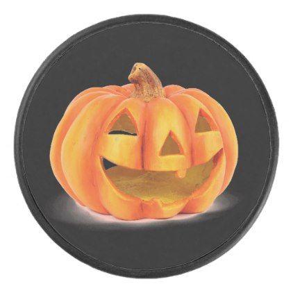 #Smiling Pumpkin Jack O Lantern Halloween Hockey Puck - #Halloween happy halloween #festival #party #holiday