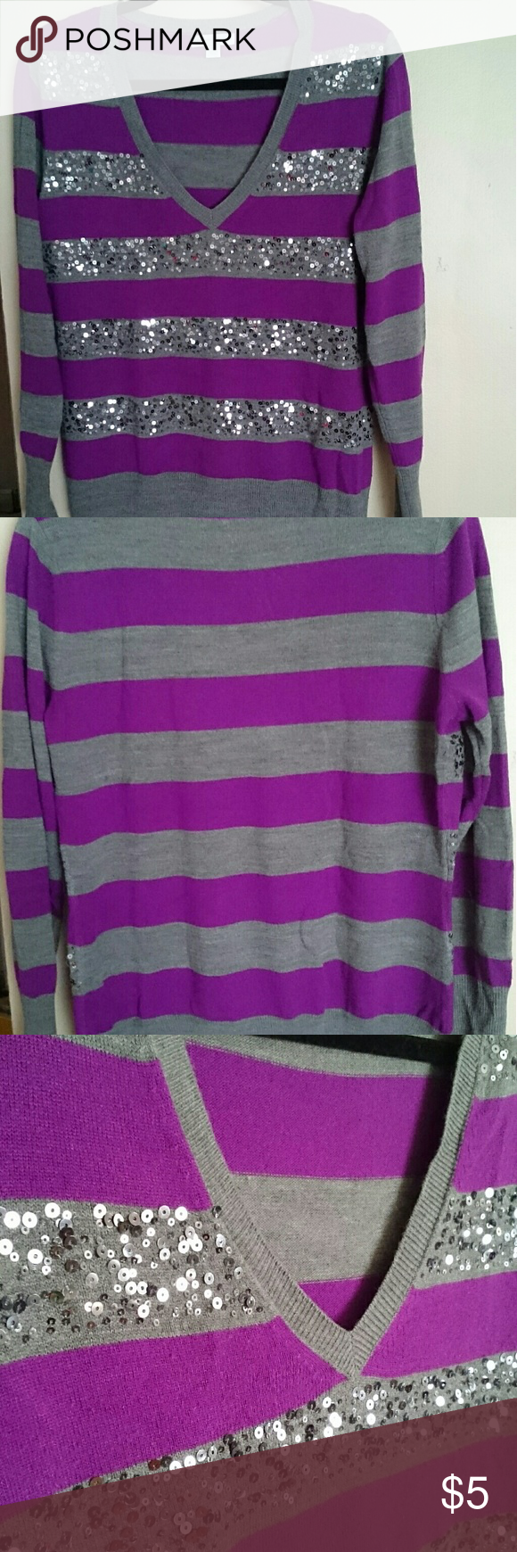 NYC L v-neck sweater Purple & Gray Horizontal stripe sweater with sequins on front New York & Company size L GUC with some piling Pet & Smoke free home New York & Company Sweaters V-Necks