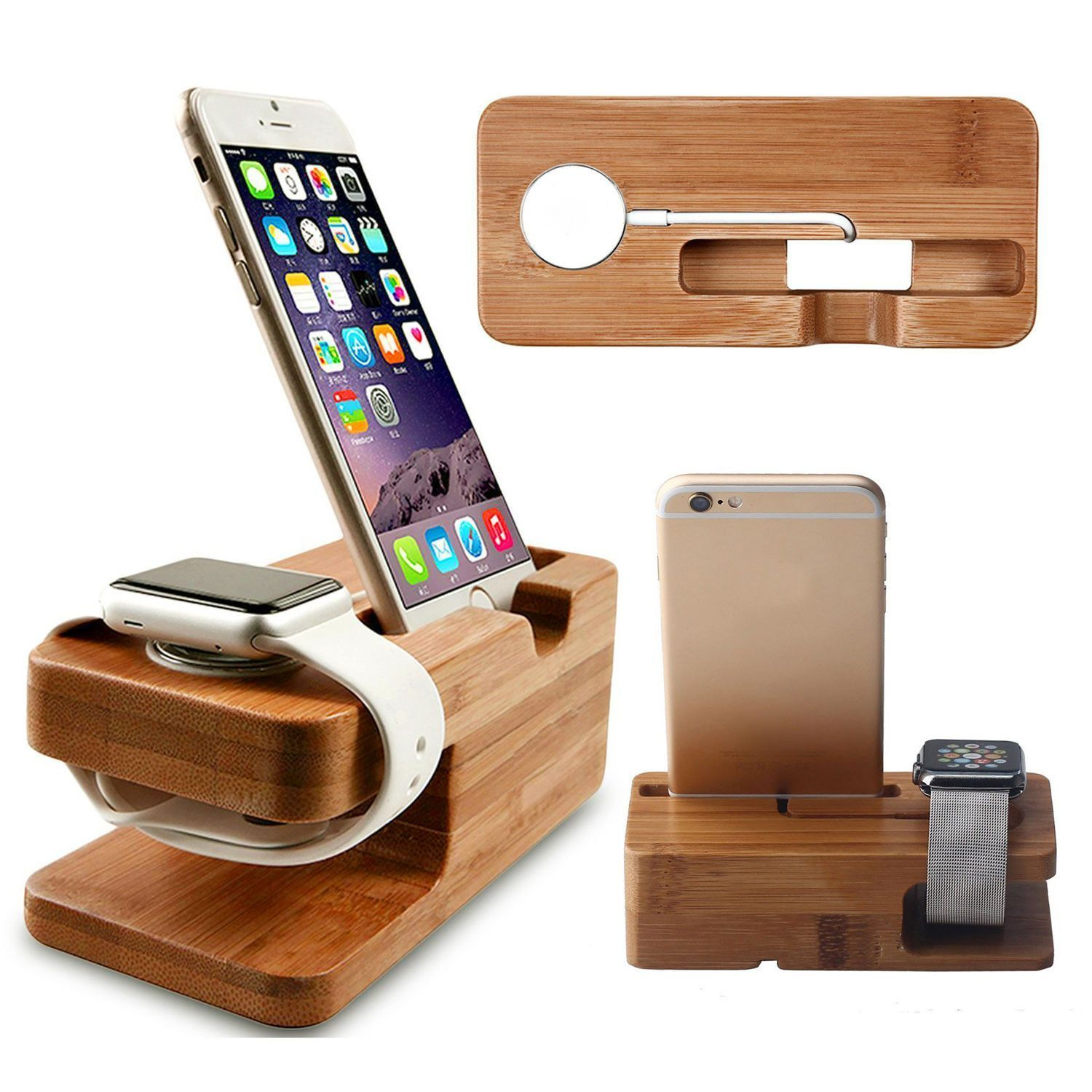 Bamboo Charging Dock Station Charger Stand Holder For Apple Watch