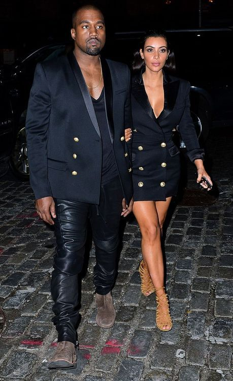 53be81ddc Kim Kardashian Balmain Double Breasted Dress + Kanye West Balmain Gold  Buttoned Blazer
