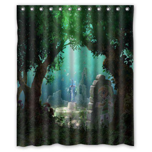 Futefew Personalized Bathroom The Legend Of Zelda Sword Forest Pattern Shower  Curtain 60