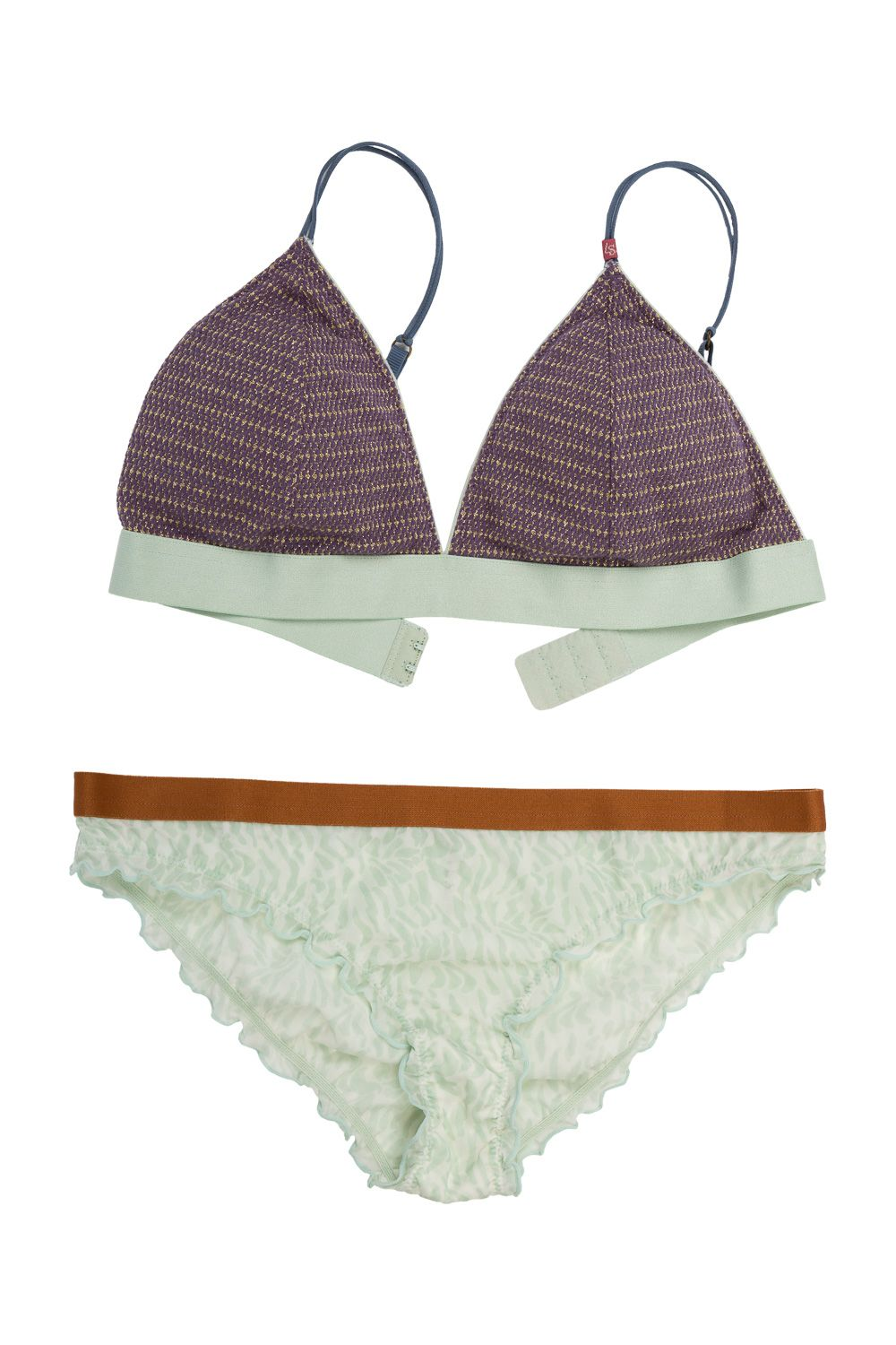 29b14d01fc ... Firecracker Elegant padded bralette - Printed low waist brief A  delightful combination of lavender yarn intertwined with a shimmery champagne  gold that ...
